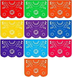 Fiesta Banner Plastic Papel Picado (3 Pack): 3 x 10 Large Multi-Colored Panels 16 feet Long for Mexican Themed Party Supplies for Festivals, Dia De Muertos, Coco Theme, Flower Decor by Ole Rico