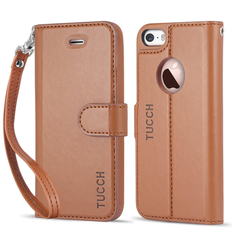 more photos 54cdb 6a0cf Amazon.com: iPhone 5/5S/SE Case, TUCCH Leather Wallet Case, Premium ...