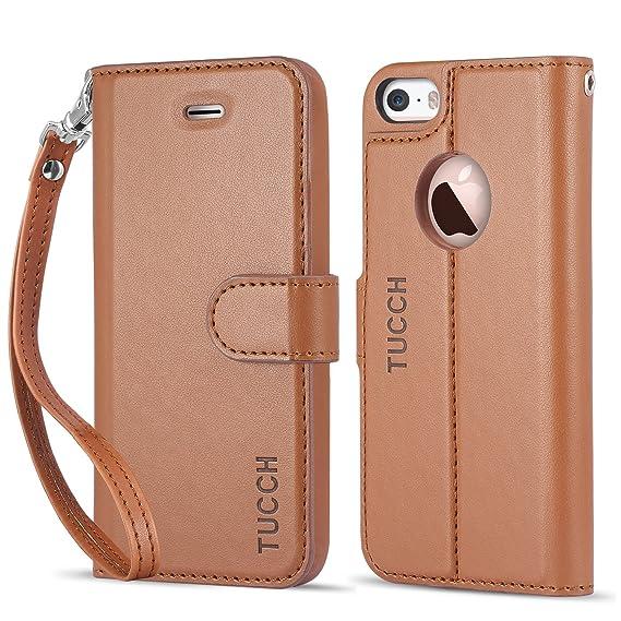 more photos 14140 6375f Amazon.com: iPhone 5/5S/SE Case, TUCCH Leather Wallet Case, Premium ...