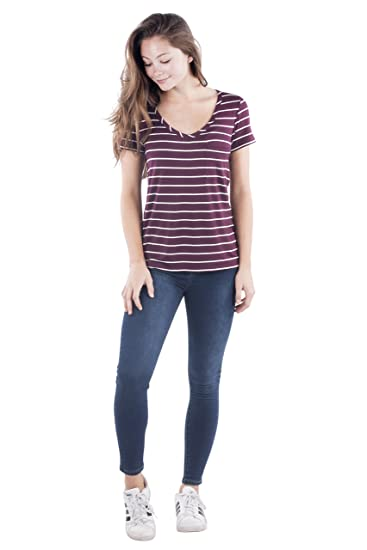 3f0f8edc Glitz Womens Juniors V Neck Boyfriend T Shirt, Short Sleeve Top, Basic  Striped Casual Girls Tee at Amazon Women's Clothing store: