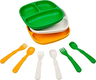 product image for Re-Play Made in The USA Dinnerware Set - 3pk Divided Plates with Matching Utensils Set (St. Patricks Day)