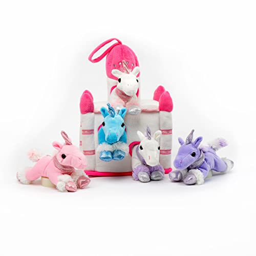 Plush Unicorn Castle with Animals - Five (5) Stuffed Animal Unicorns in Play Carrying Castle Case - White