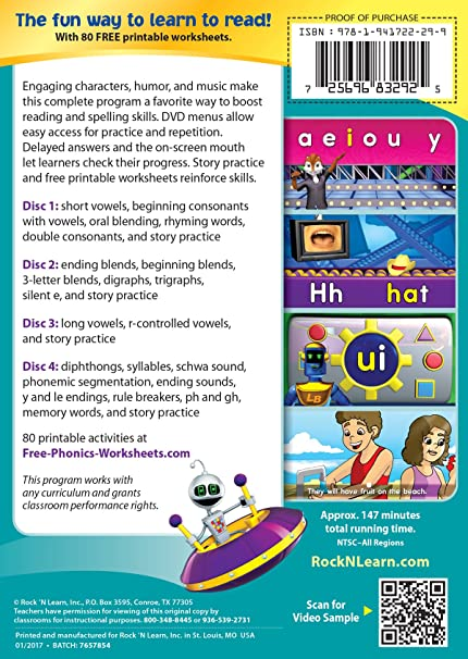 Workbook free phonics worksheets : Amazon.com: Phonics 4 DVD Set: Rock 'N Learn: Movies & TV