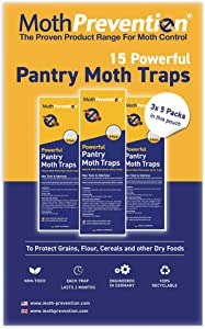 MothPrevention Powerful Pantry Moth Traps with Pheromones Prime | 15-Pack | Pantry Moth Trap for House - Moth Killer Indoor | Unique Design for Maximum Pheromone Dispersal - Odor-Free & Natural