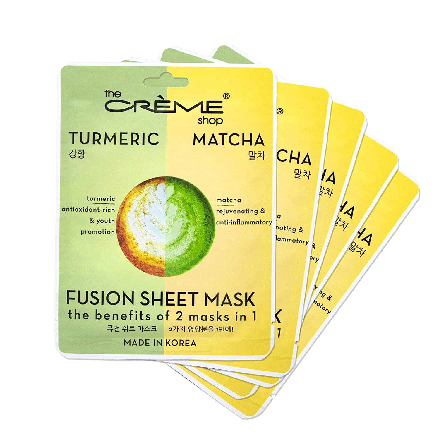 The Crème Shop Natural Essence Fusion Face Mask - Korean Facial Skin Care and Moisturizer - Turmeric & Matcha 5 Sheets Set