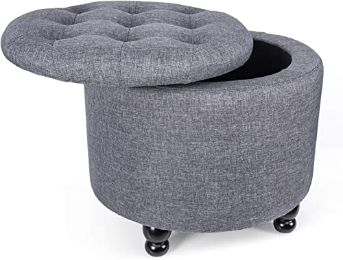 YOURLITEAMZ Modern Round Storage Ottoman Fabric Cushion Button Tufted Storage Footstool with Removable Lid – Grey