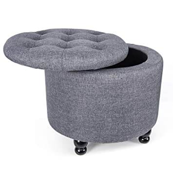Pleasant Yourliteamz Modern Round Storage Ottoman Fabric Cushion Button Tufted Storage Footstool With Removable Lid Grey Caraccident5 Cool Chair Designs And Ideas Caraccident5Info