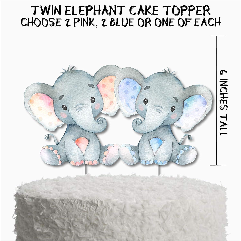 Amazon Com Twins Elephant Baby Shower Cake Topper Twin