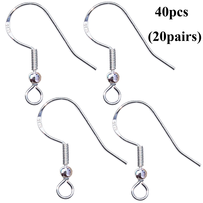 40pcs 925 Sterling Silver Earring Hooks French Wire Hooks Fish Hook Earrings Jewelry Findings Parts DIY Making