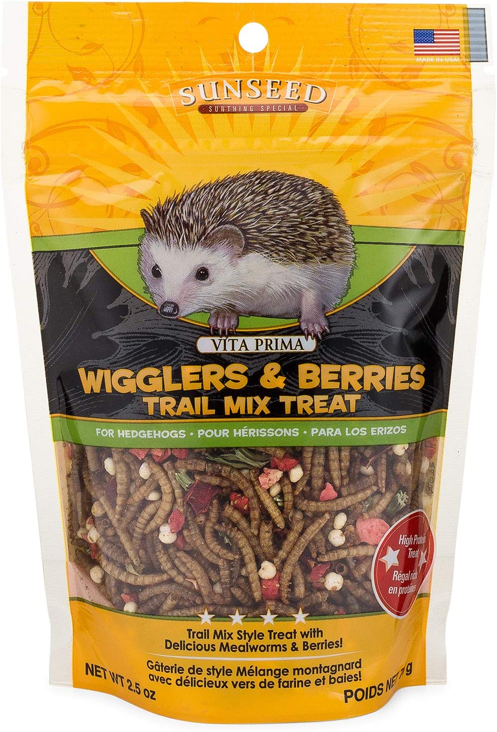 Sunseed 36035 Vita Prima Hedgehog Treat - Wigglers & Berries Trail Mix, 2.5oz