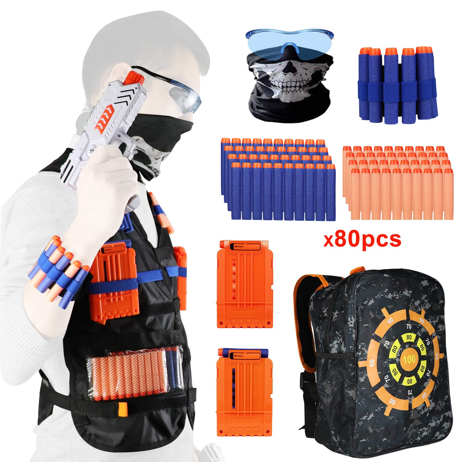Feiboo Tactical Vest Kit for Nerf Guns N-Strike Elite Series, with 1 Shooting Target Backpack, 80 pcs Refill Darts, 2 Reload Clips, 1 Face Tube Masks, 1 Hand Wrist Bands and 1 Protective Glasses by Feiboo