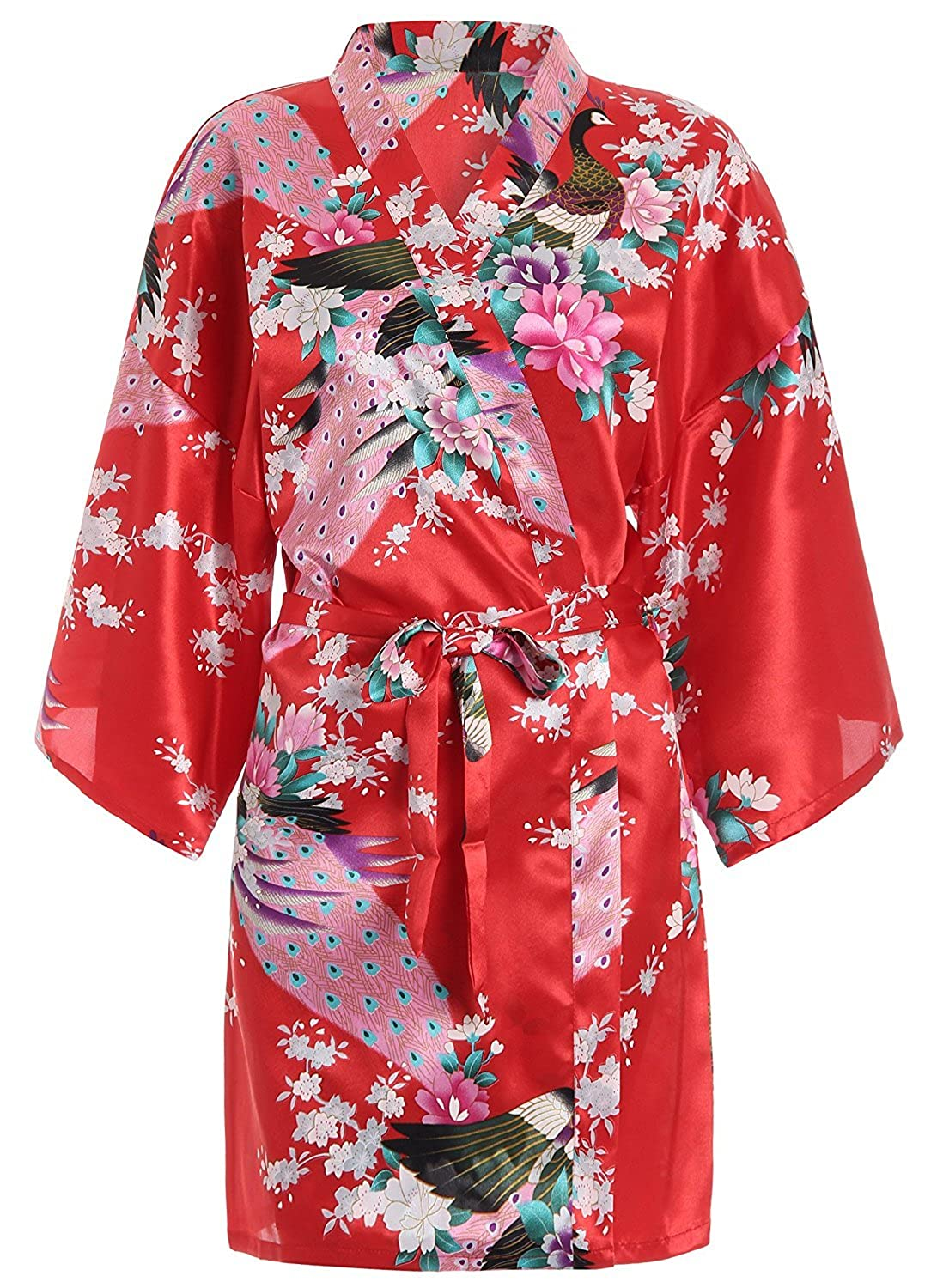 Hammia Womens Bridesmaid Robes Short Peacock Blossoms Kimono Robe Dressing Gown Floral Robes
