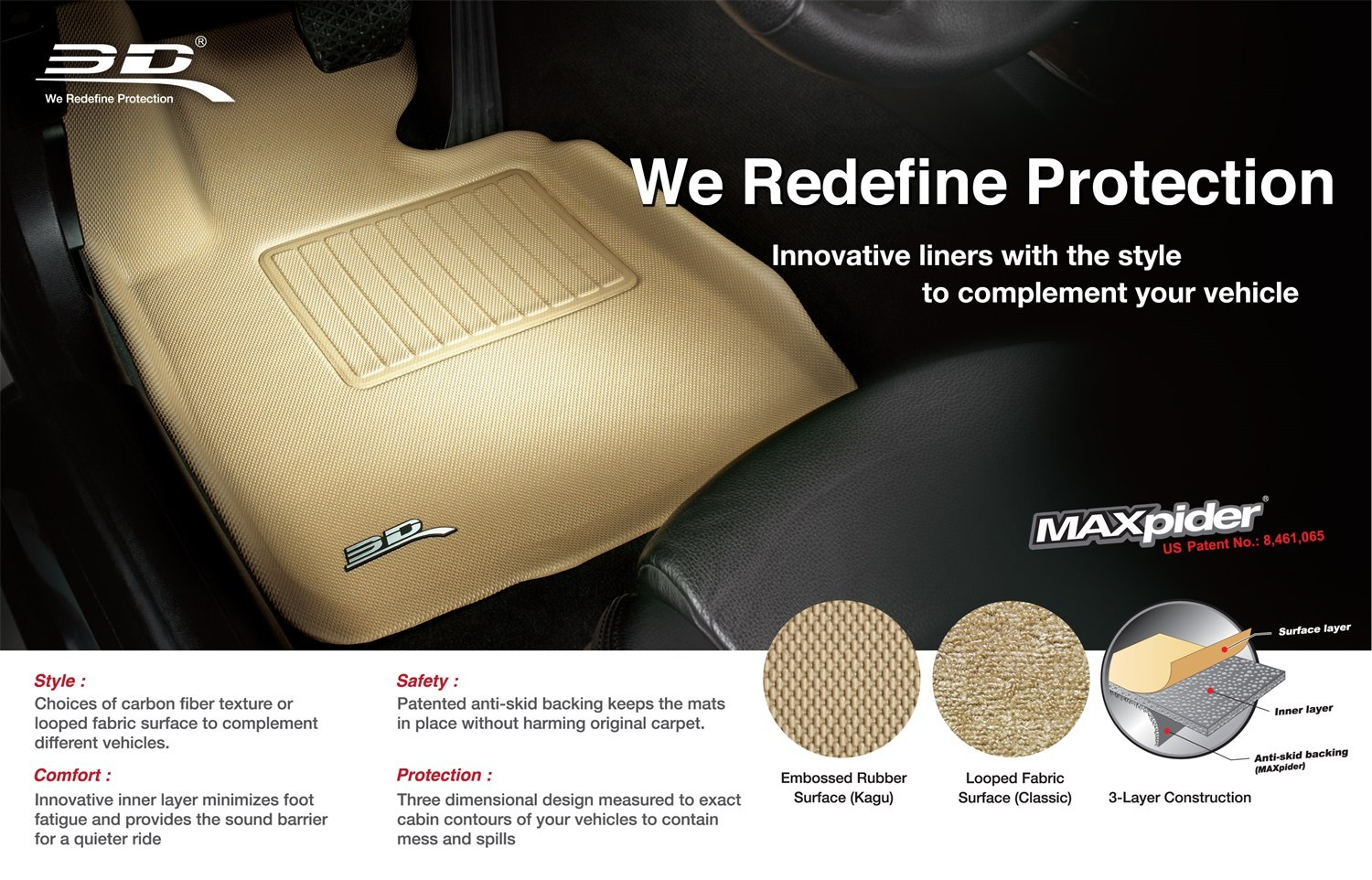 Kagu Rubber Tan 3D MAXpider All 2 Row Custom Fit Floor Mat for Select Hyundai Tucson Models L1HY05501502