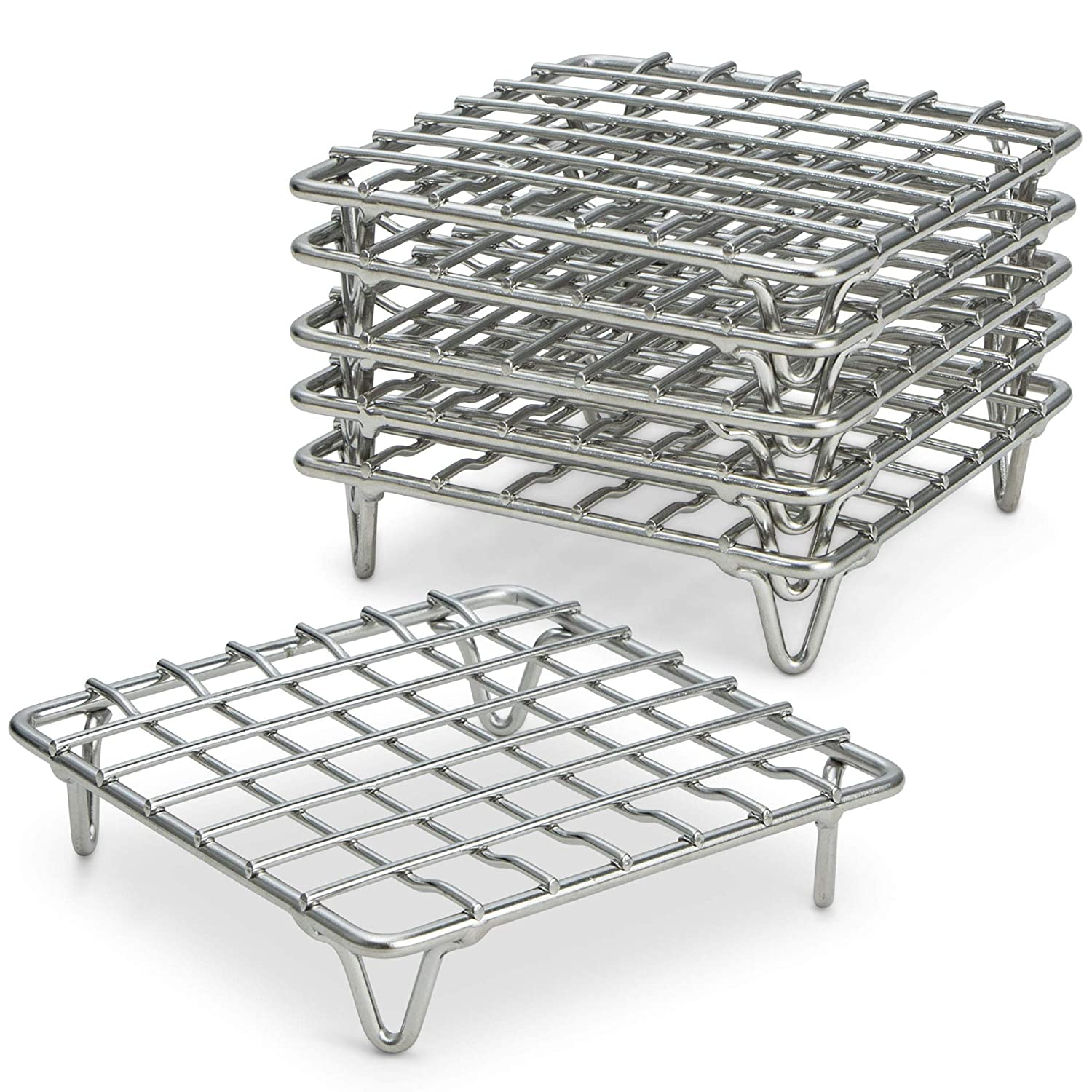 "ARROW & EAVES 4"" Mini Stainless Steel Cooking and Cooling Racks, Set of 6 - Small Metal Trivet Display Stand for Round Pots, Pans, Hot Dishes, Wire Coaster, Kitchen Riser, Steamer, Baking Racks"