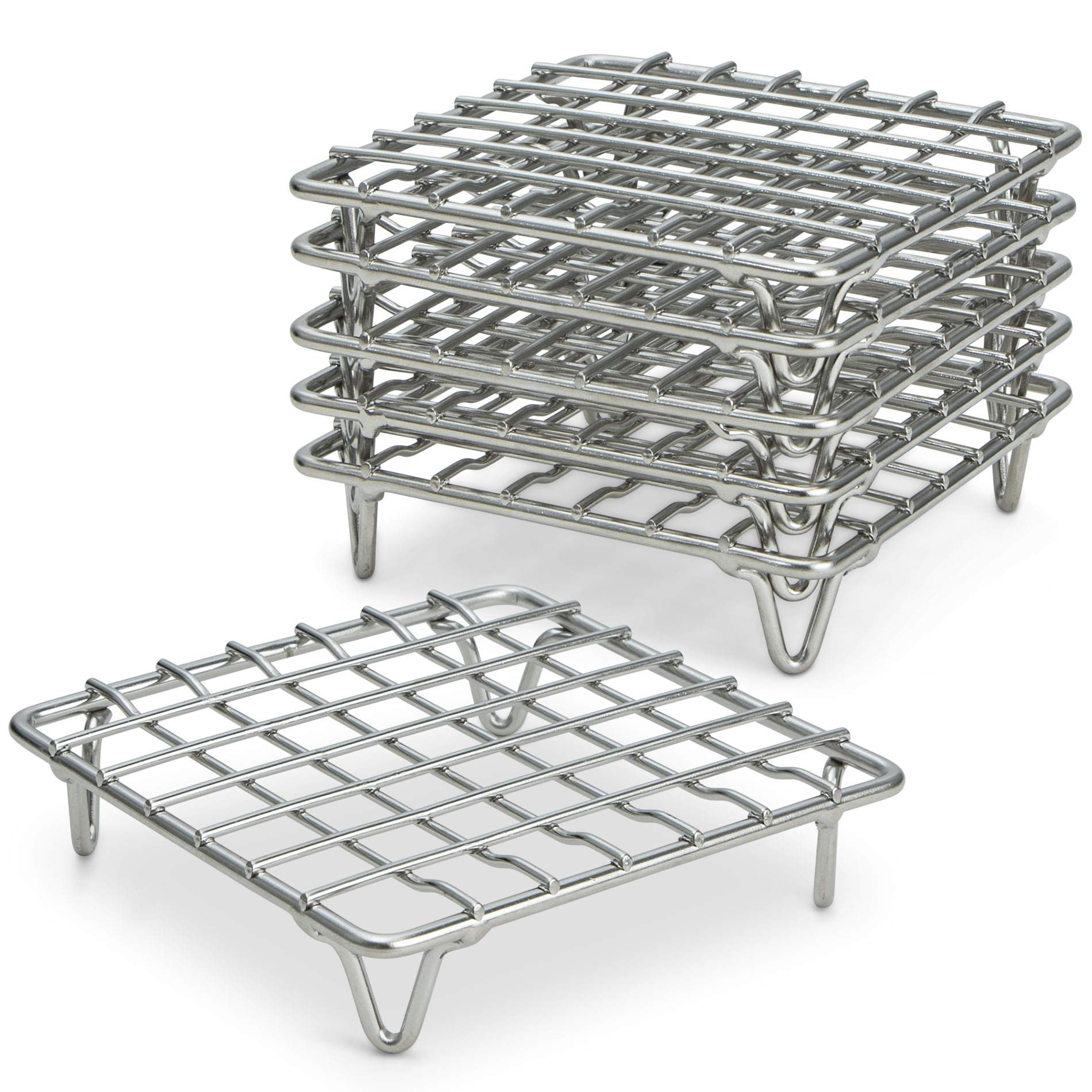 ARROW & EAVES Mini Stainless Steel Cooking and Cooling Rack, Trivets, Set of 6 - Small, 4'' Metal Trivet Stand for Round Pots, Pans, Hot Dishes, Instant Pot, Toaster Oven, Steamer Cooking, Baking Racks by ARROW & EAVES