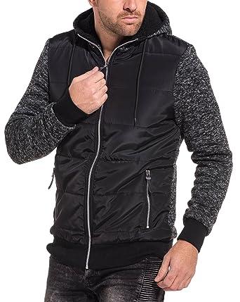 8fc498769a633 BLZ Jeans - Gilet Homme Noir zippé fourré à Capuche - Couleur: Noir - Taille
