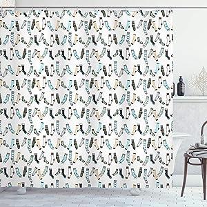 "Ambesonne Cartoon Shower Curtain, Messy Teenager Kids Room Rain of Socks Laundry Themed Funny Art, Cloth Fabric Bathroom Decor Set with Hooks, 70"" Long, Dark Blue"