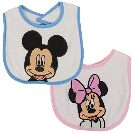 b6d4c5b8c Trendy Apparel Shop Mickey Mouse and Minnie Mouse Embroidered Baby Bib 2  Pack - PINK BLUE