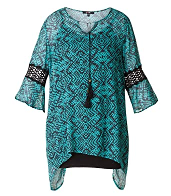 21ad45af4e5c4 Chiffon Tunika mit Top Damen lang Türkis elegant große Größen von Yesta  Shirt Oberteil festlich Sommer