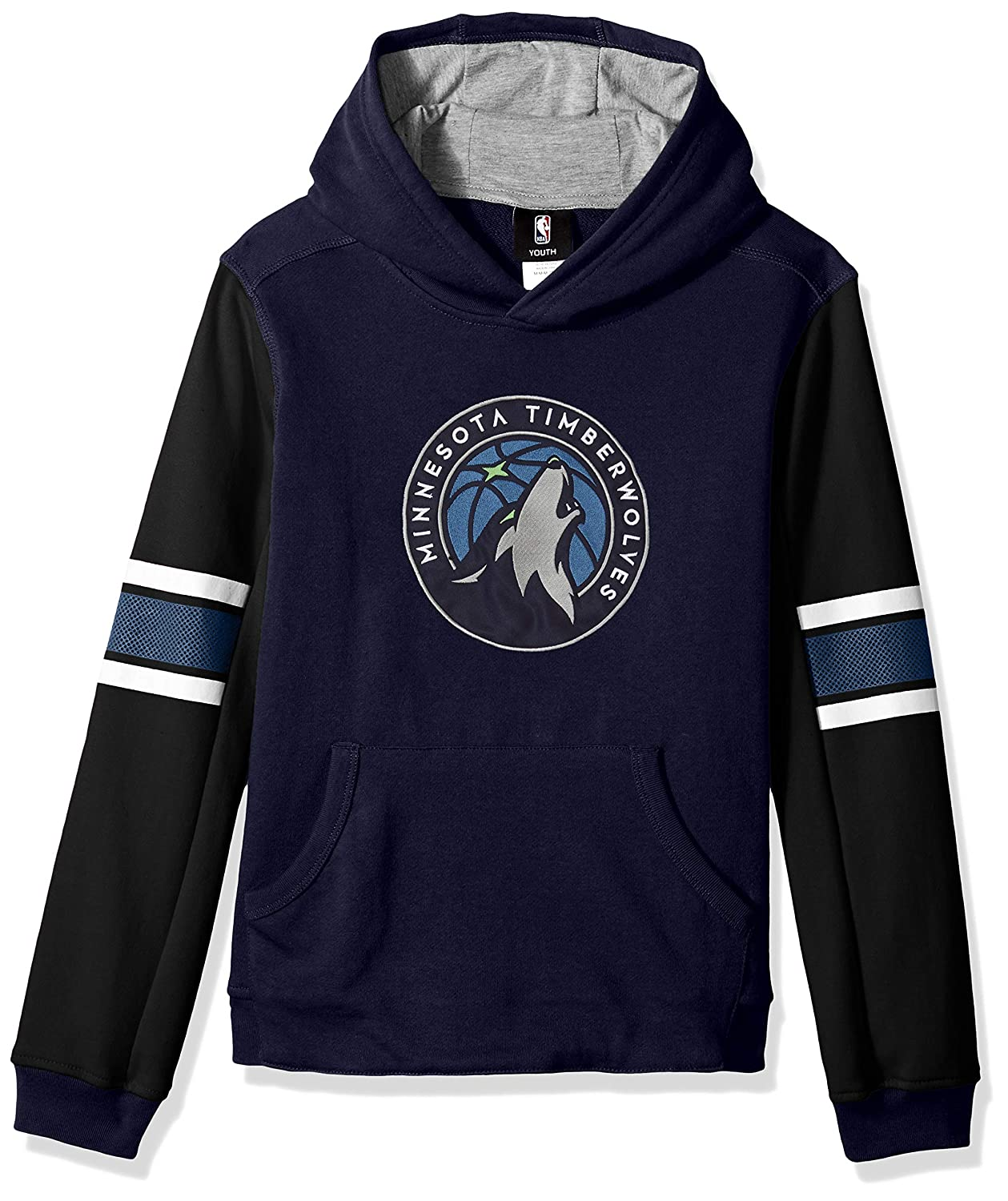 Youth Medium 10-12 Outerstuff NBA NBA Youth Boys Minnesota Timberwolves Man in Motion Color Blocked Pullover Hoodie Dark Navy