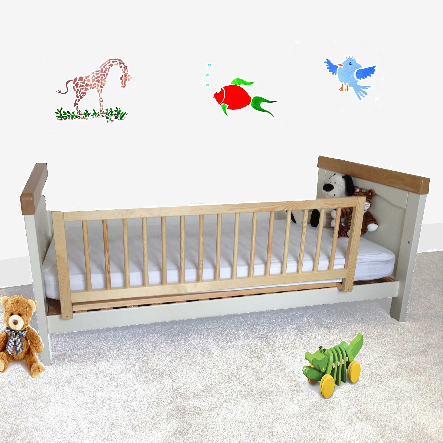 Safetots Wooden Bed Rail Natural Amazoncouk Baby