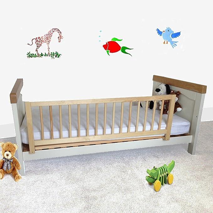 Safetots - Barrera protectora de cama, madera, color natural: Amazon.es: Bebé
