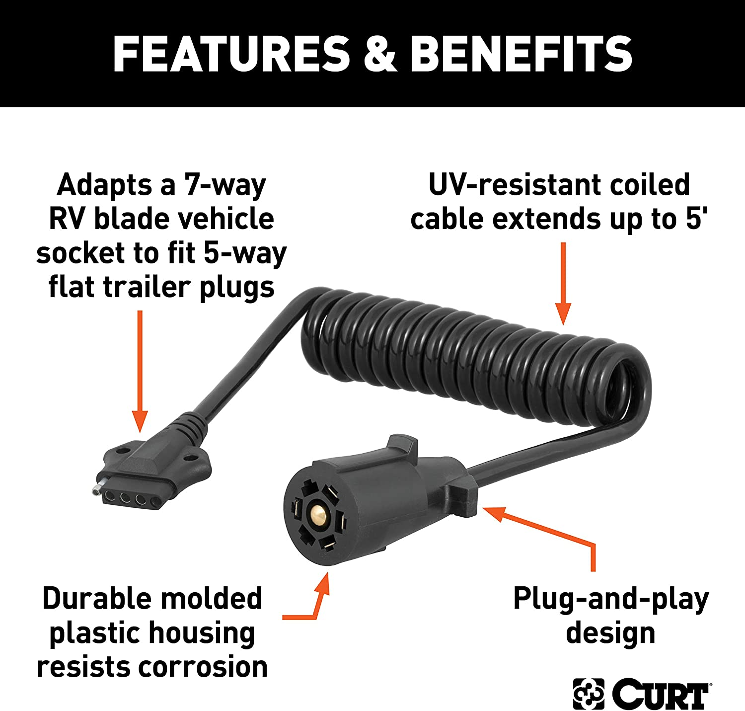 CURT 57271 Towing Electrical Adapter Harness 7-Way RV Blade Vehicle Side to 4-Way Flat Trailer Side