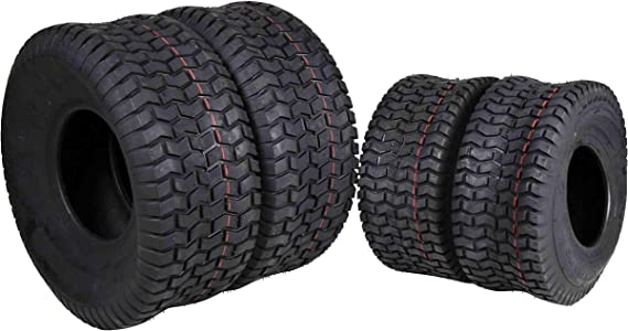 MASSFX 4 New Lawn Mower Tires 15x6-6 20x8-8 4 PLY Four Pack Lawn & Garden