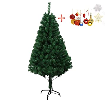 Artificial Christmas Tree Branches.Luckyermore 5 Ft Classic Artificial Christmas Pine Tree Realistic Natural Branches Small With Solid Metal Stand And Decoration