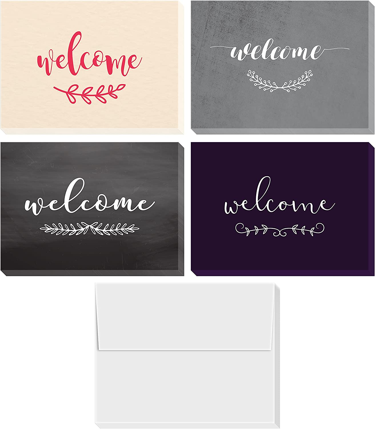 Welcome Cards Box Set | Includes 36 Assorted Greeting Cards and Envelopes - Blank on the Inside - 4 by 6 Inches