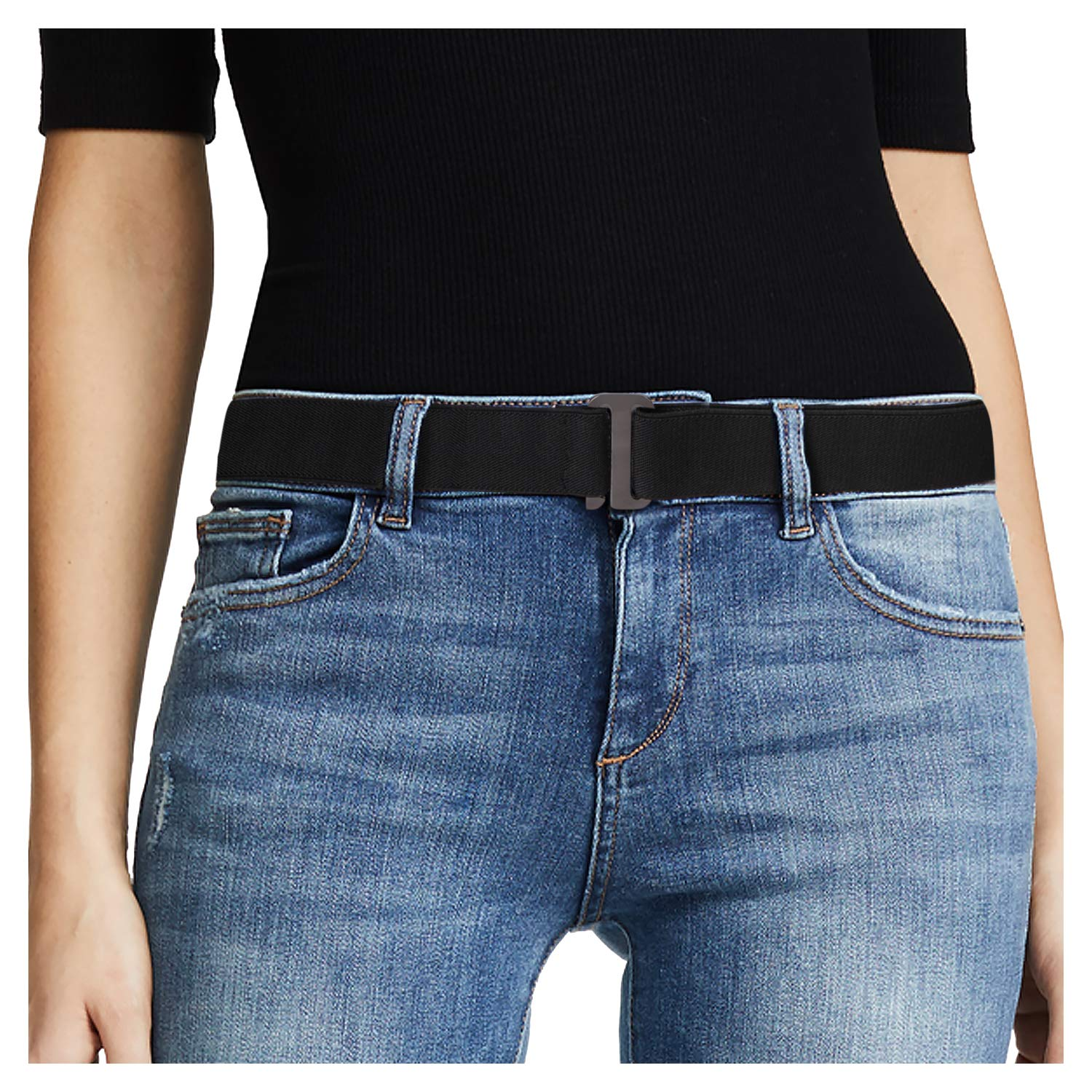 No Show Women Stretch Belt Invisible Elastic Web Strap Belt with Flat Buckle for Jeans Pants Dresses.