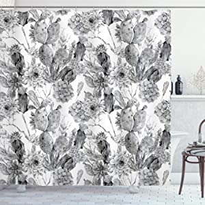 Ambesonne Cactus Shower Curtain, Boho Form Style Monochrome Cactus Flowers and Feathers Exotic Botanical Vintage, Cloth Fabric Bathroom Decor Set with Hooks, 70