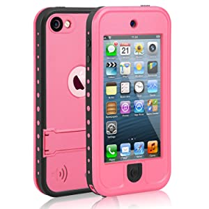 Waterproof Case for iPod 5 iPod 6, Meritcase Waterproof Shockproof Dirtproof Snowproof Case Cover with Kickstand for Apple iPod Touch 5th/6th Generation for Snorkeling Swimming Diving (Pink)