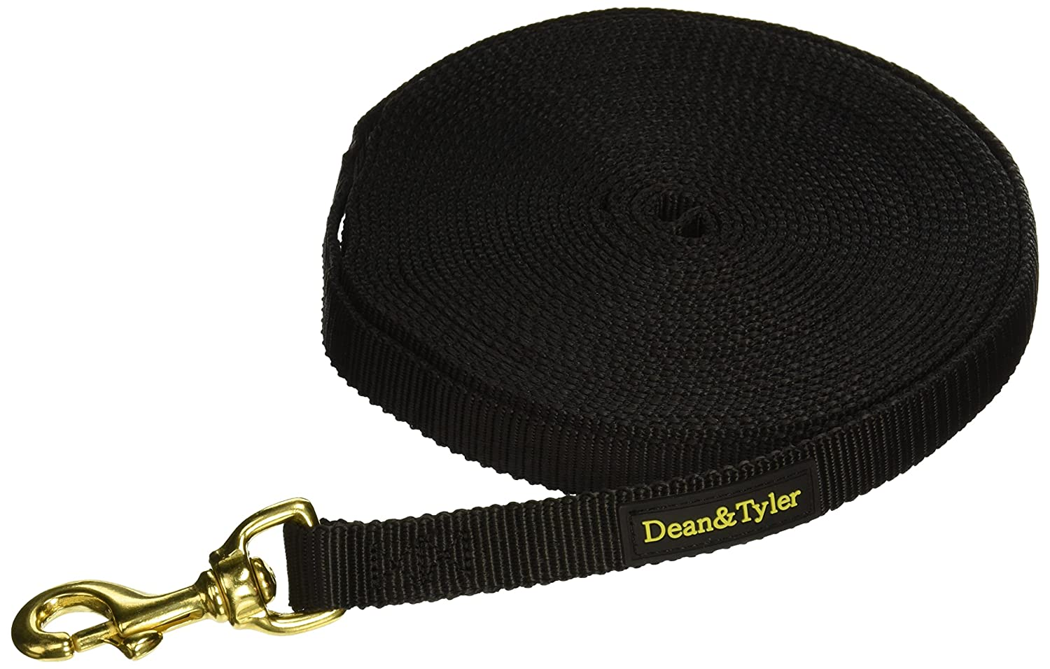 30-Feet by 3 4-Inch Dean and Tyler Nylon Track Leash, Black 30-Feet by 3 4-Inch With Solid Brass Hardware