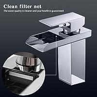 Mitigeur lavabo et robinet cascade 120 ° rotatif Mitigeur chaud et froid Mix Robinet avec filtre de robinet pour salle de bain taille: 16 * 13,5 * 5 cm