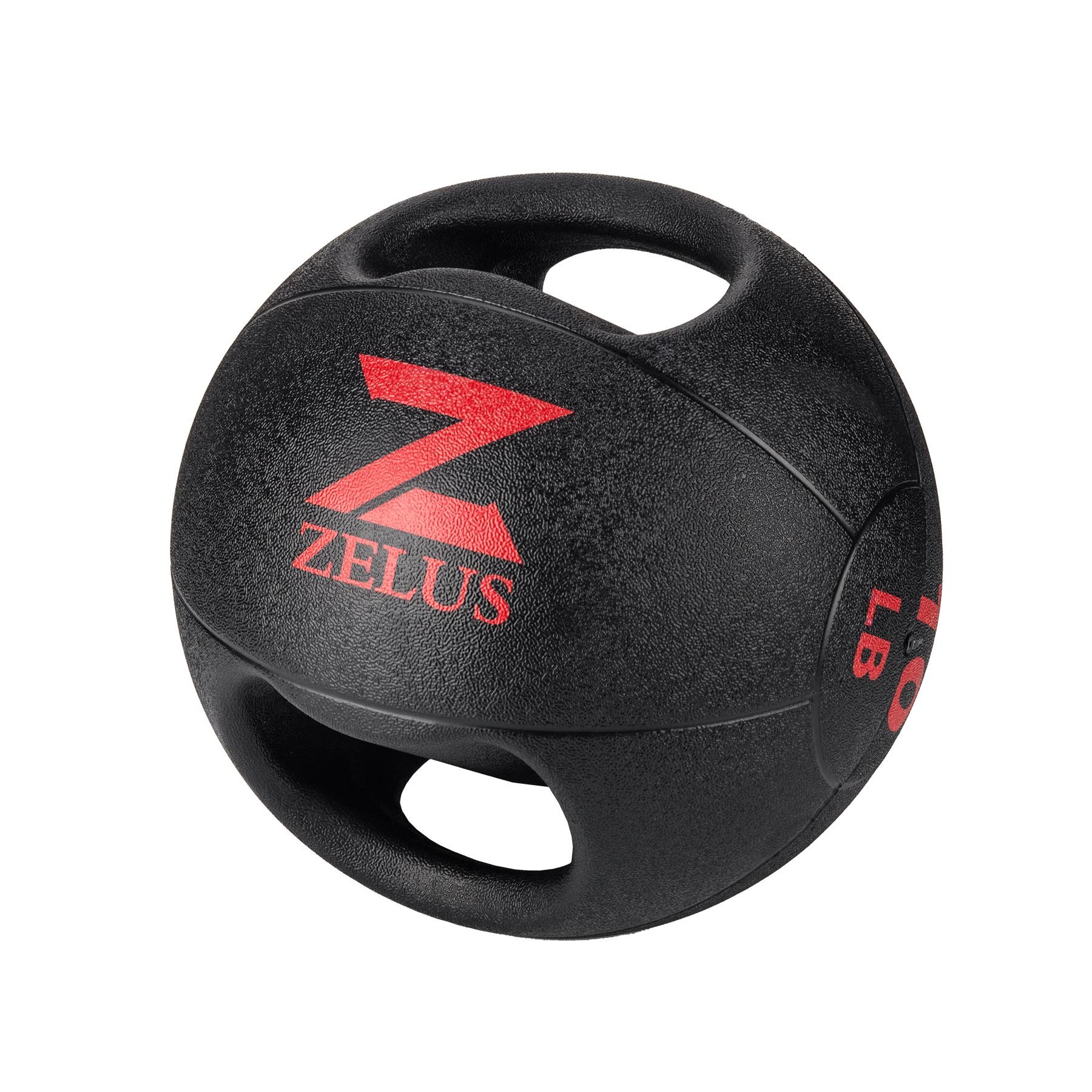 ZELUS Dual Grip Medicine Ball Weight Exercise Ball with Durable Rubber and Textured Grip for Strength Balance Training - Weight Sizes 10/20 lbs. Available (10.0 Pounds)