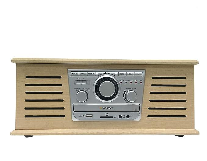 Sunstech PXR42CD - Giradiscos con 3 velocidades (función encoding, Auto-Stop, grabación Directa y conectividad Bluetooth) Color Madera