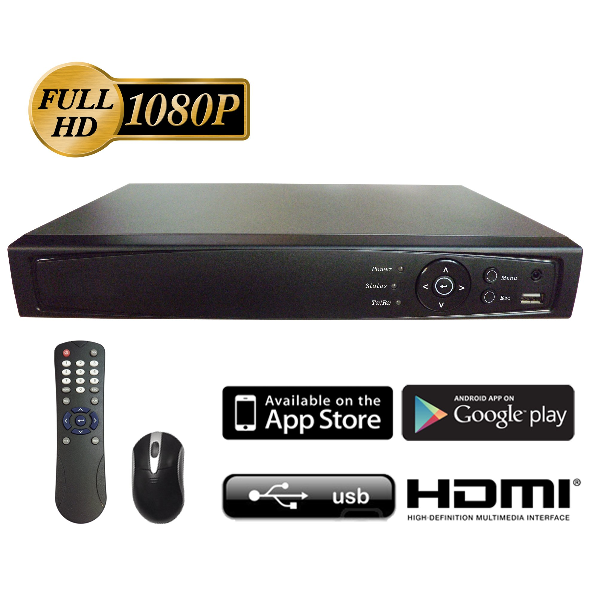 Surveillance Digital Video Recorder 16CH HD-TVI/CVI/AHD H264 Full-HD DVR 2TB HDD HDMI/VGA/BNC Video Output Cell Phone APPs for Home/ Office Work @1080P/720P TVI&CVI, 1080P AHD, Standard Analog& IP Cam by 101 AV Inc