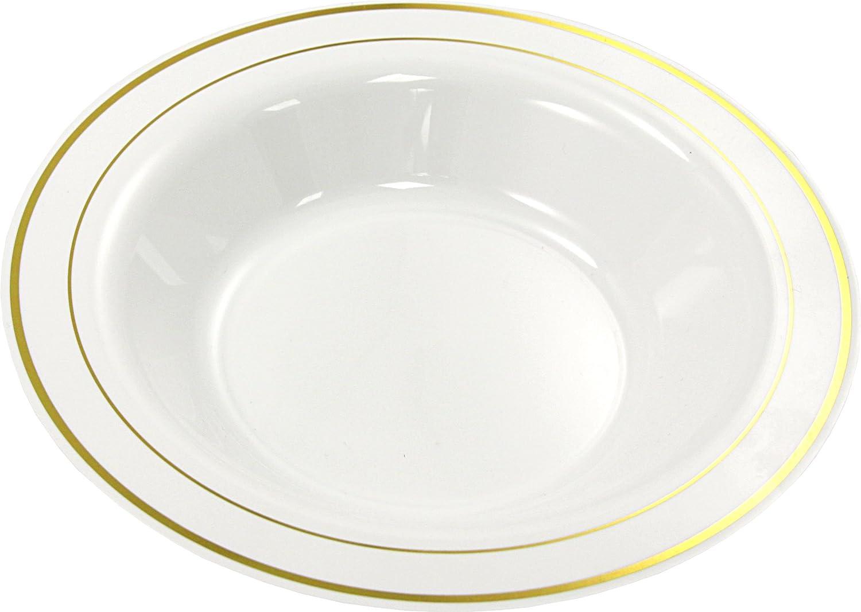 MOZAIK 20 platos hondos de plástico de 23cm en color blanco con el borde dorado