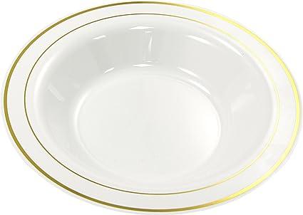 silverkit Chen Plato Hondo de Gran Calidad plástico Desechables Color  Blanco Oro Diámetro 23 cm 31c38232c6e