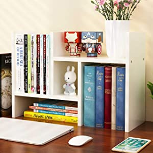 Office Desktop Bookshelf Adjustable Wood Display Shelf Desktop Organizer Office Storage Rack Countertop Bookcase Office Supplies Desk Organizer Accessories,White