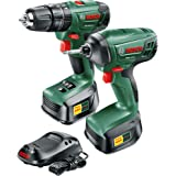 Bosch Cordless Hammer Drill Driver Plus Impact Driver Kit PSB 1800 LI-2 + PDR 18 LI (2 Batteries, 18 Volt System, 1.5 Ah, in Box)