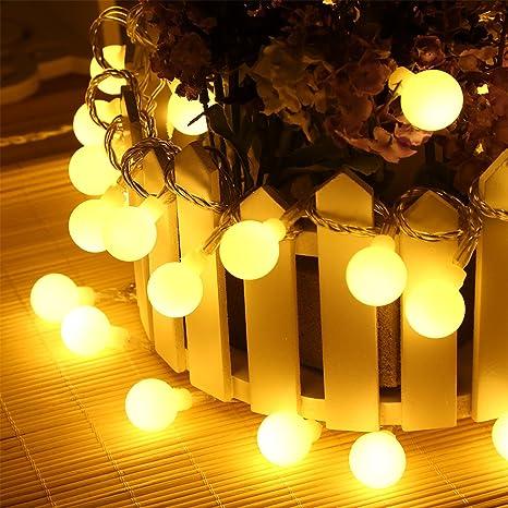 Cuerda Luces 5M Guirnaldas LED con Luz 50 Bombillas de Blanco Cálido, LeeHur Cuerda LED para Jardín y Árbol de Navidad, Decoración Romántica para ...