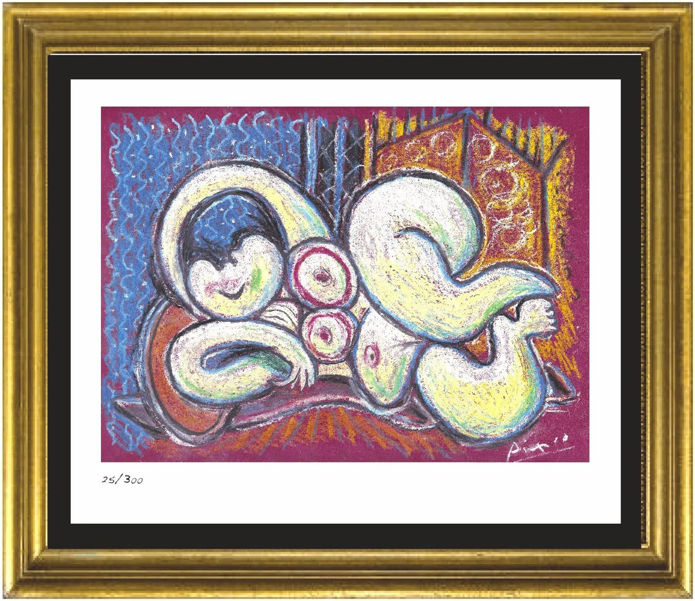 """unframed Pablo Picasso Signed//Hand-Numberd Ltd Ed /""""Reclining Nude/"""" Litho Print"""