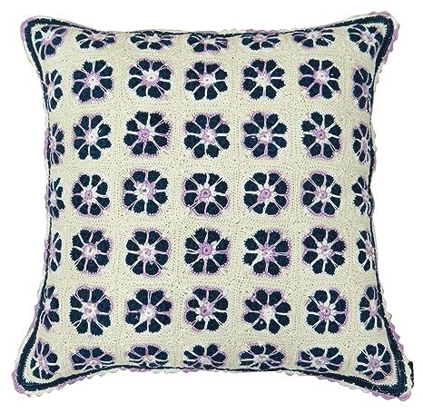 Diseño de flores de ganchillo de algodón cuadrado Funda para ...