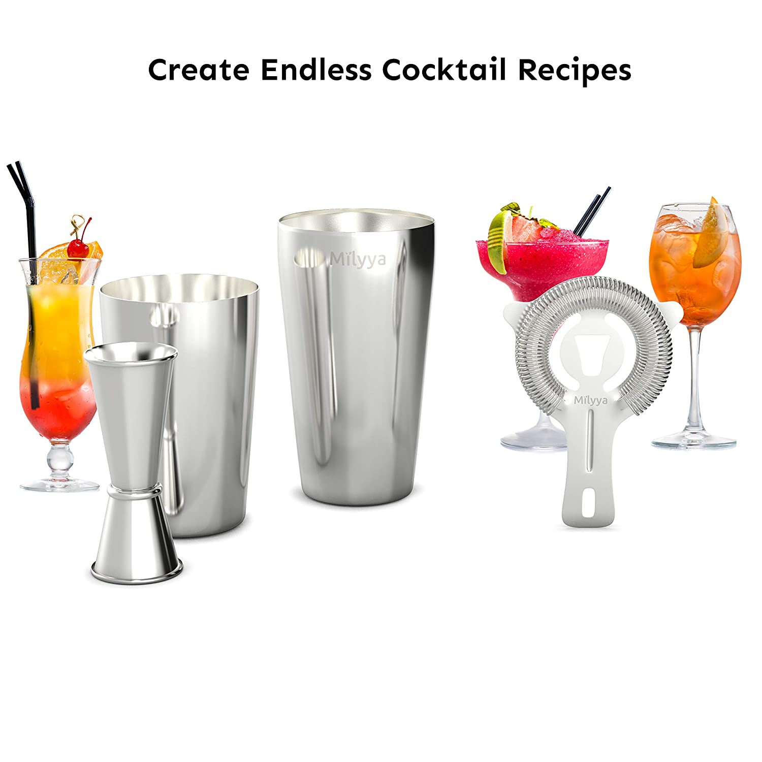4 Piece Stainless Steel Bar Shaker Set Perfect Home Bar Accessories For Awesome Cocktail Mixing Experience With Jigger And Cocktail Strainer Professional Boston Shaker Home Kitchen Kitchen Dining