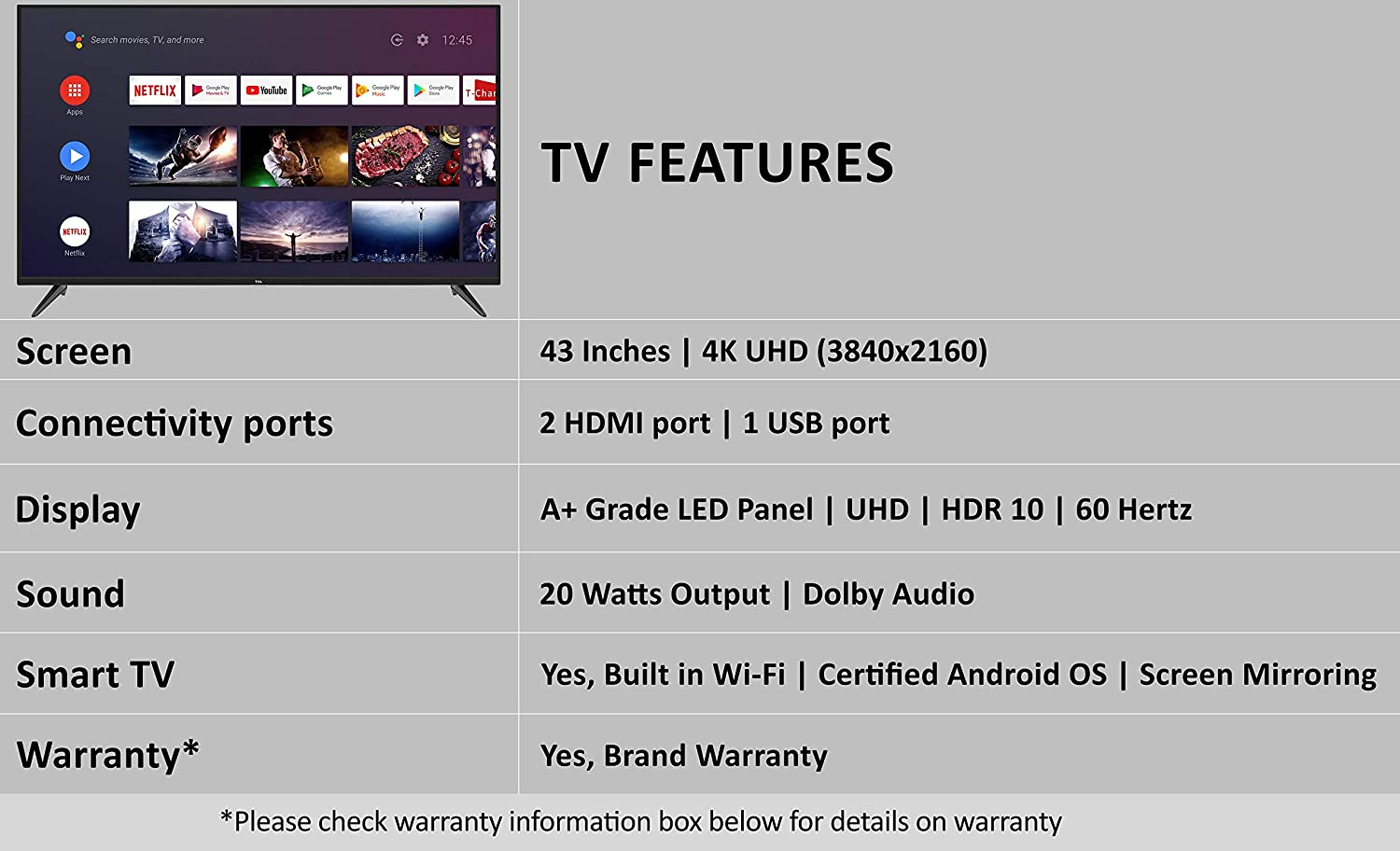 TCL 108 cm (43 inches) AI 4K UHD Certified Android Smart LED TV