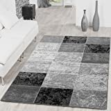 Affordable Check Design Modern Living Room Rug Grey/Black Top Preis, Polypropylene, grey, 120x170 cm