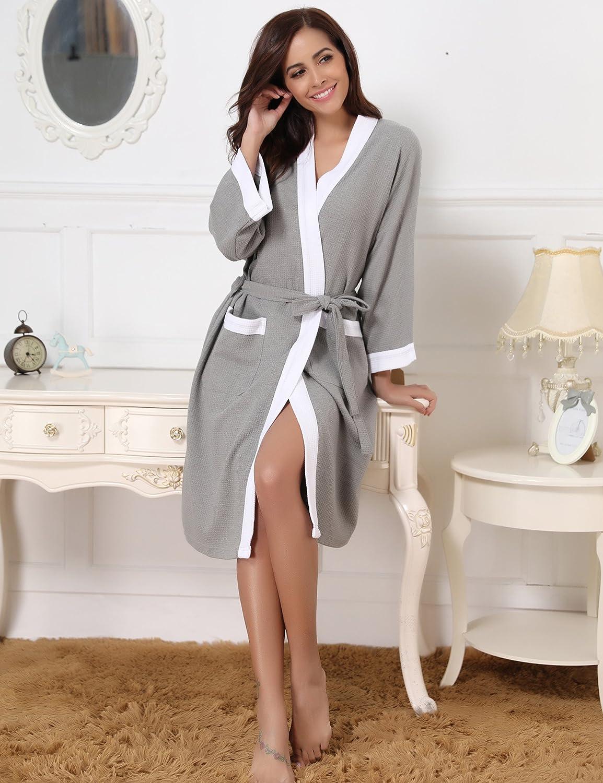 Aiboria Damen Bademantel Morgenmantel Baumwolle Waffel Kimono Robe Klassische V Kragen mit Zwei Tasche Saunamantel
