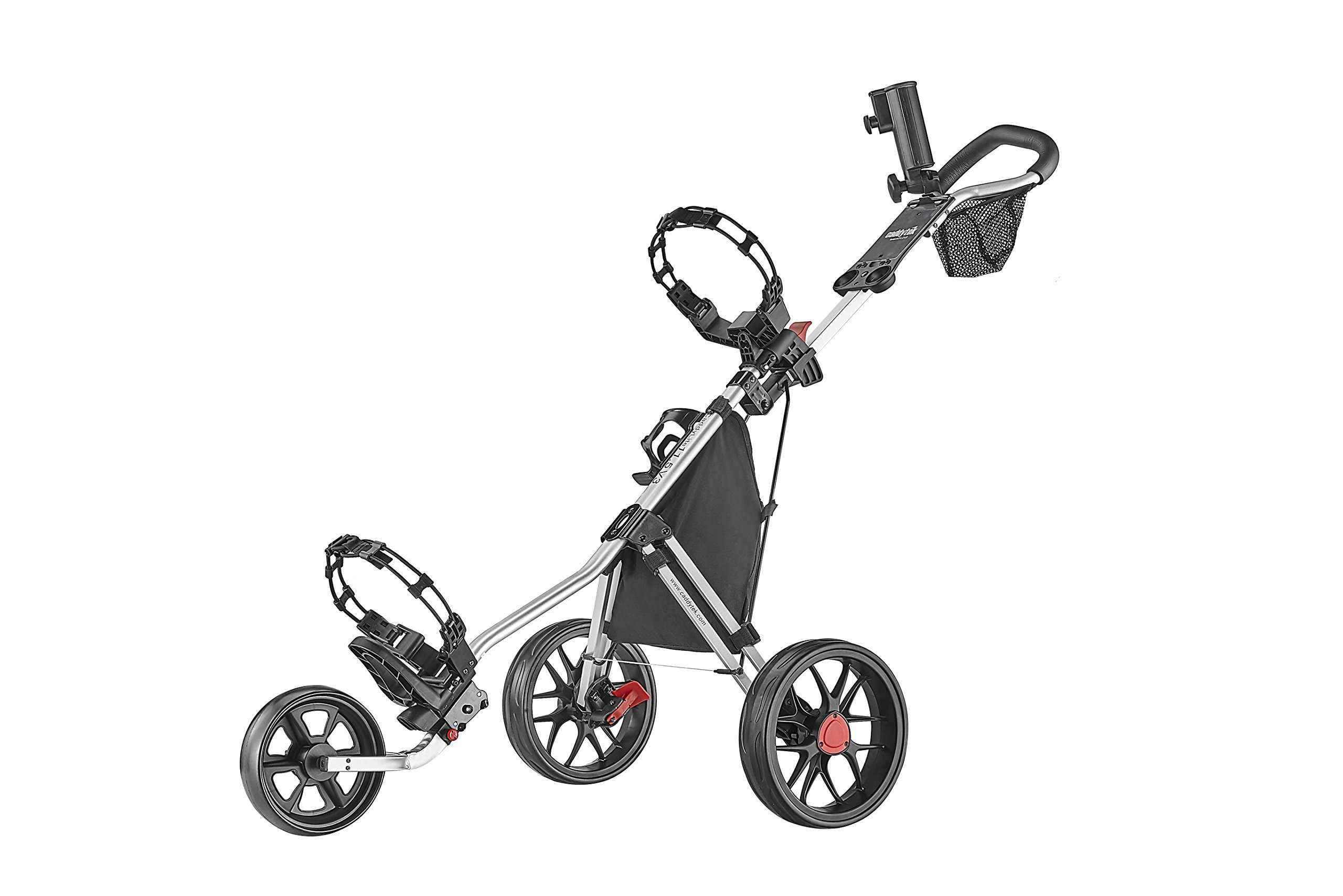 CaddyTek Deluxe 3 Wheel Golf Push Cart Version 3, CaddyLite 11.5 V3-Silver by CaddyTek